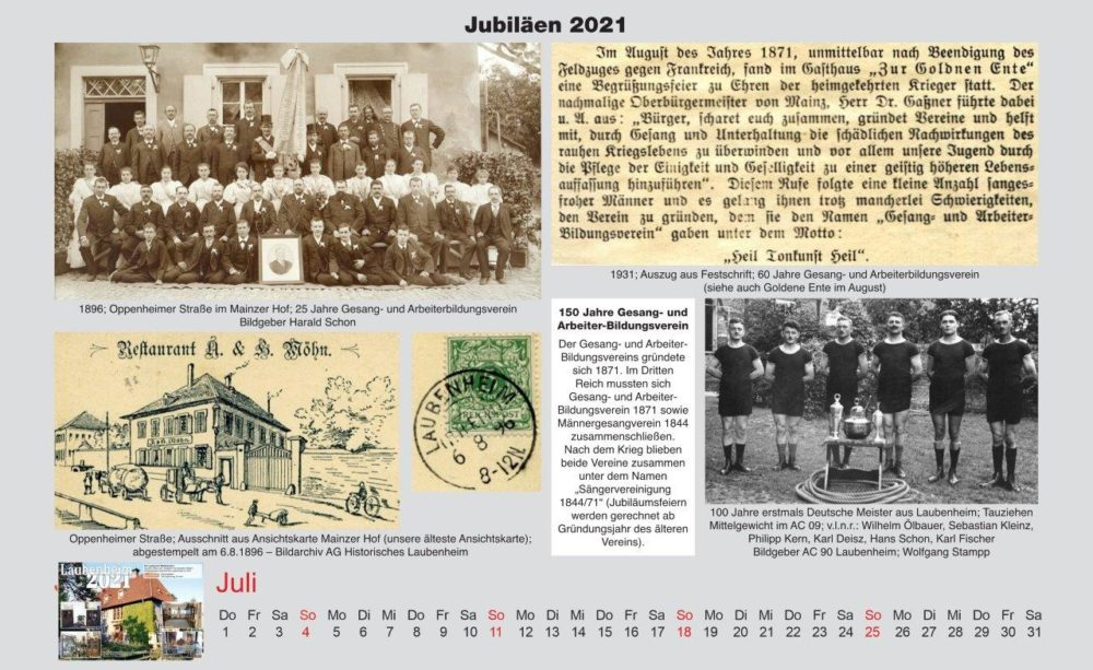Kalenderblatt Juli Jubiläen 2021